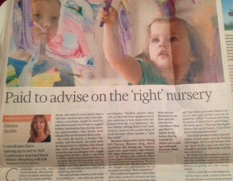 Financial Times article on London nursery consultants